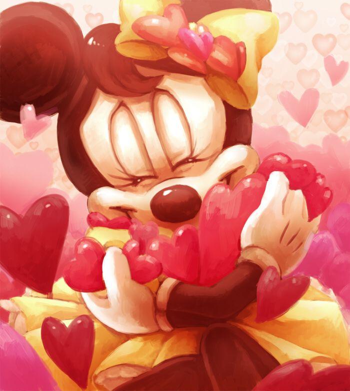 Minnie hugs a lot of hearts. She looks so cute here!