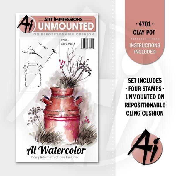 Watercolor Clay Pot Art Impressions Cling Stamps Art Impressions Art Impressions Cards Clay Pots
