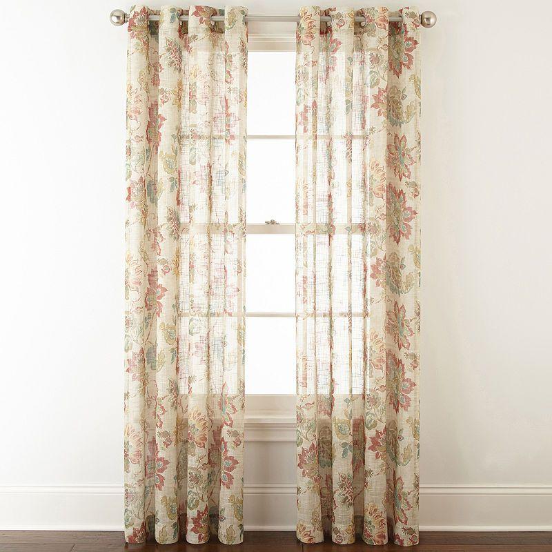 Jcpenney Home Bismarck Grommet Top Sheer Curtain Panel Panel