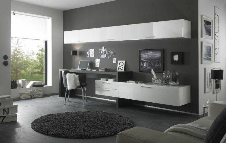aménagement bureau moderne, peinture murale gris anthracite - peindre un meuble laque blanc