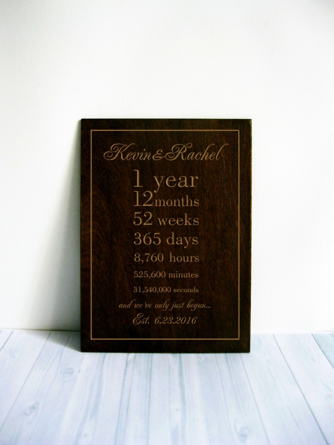 Anniversary Gift 1 Year Together Personalized Wedding Gift 1st