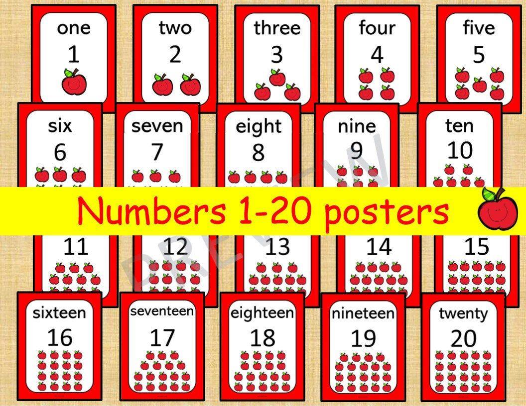 20 Printable Numbers Posters. Happy Apple Numbers 120