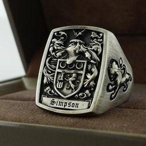 Mens Ring Signet Ring Custom Crest Ring By Kay 3dheraldry Rings