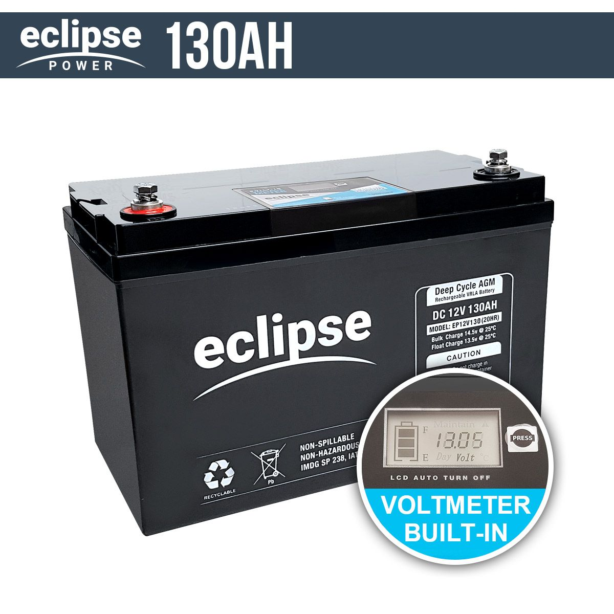 130AH 12V Eclipse AGM Deep Cycle Battery | Bus Home | Lead