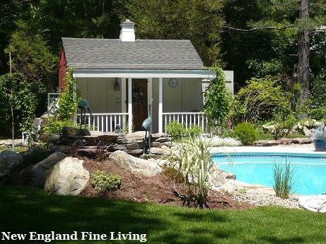 An Old Shed Made Into A Pool House By Adding An Extended Roof Porch