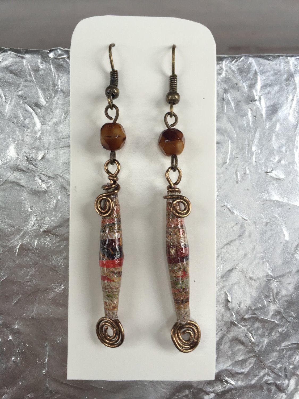 #earrings #jewelry #paper #beads Paper Beads Earrings - Egypt - EAR 00489