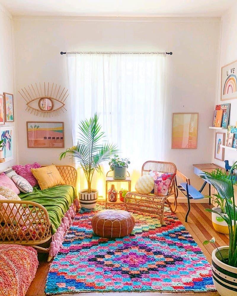 I Usually Do A Coloured Rug With Neutral Furniture Or A Neutral Rug With Brighter Furniture Boho Living Room Decor Bohemian Living Room Decor Boho Room Decor