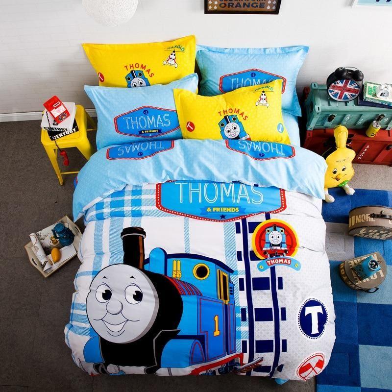 Thoams Train Cartoon Animal Duvet Cover Bed Set Train Bedding