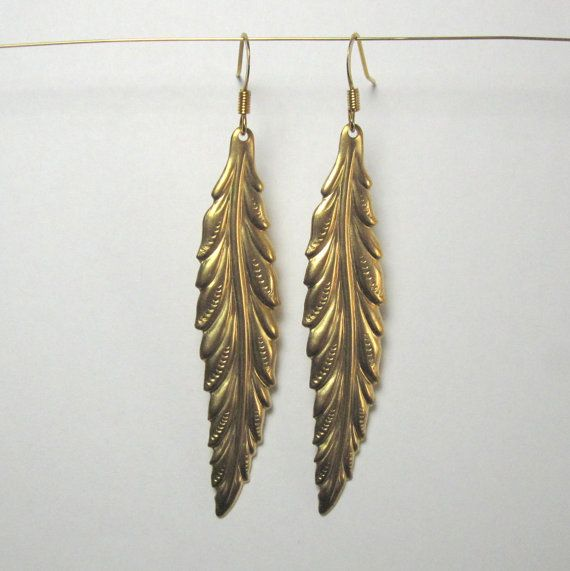 Gold feather dangles on Etsy, 85,08kr