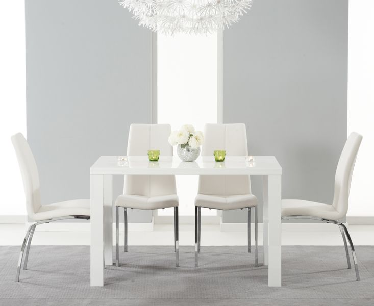 Atlanta 120cm White High Gloss Dining Table With Cavello Ivory White Chairs