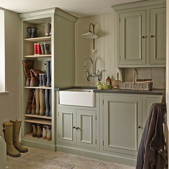 Laundry Cupboard Designs: Green Cabinets, Cream Walls!