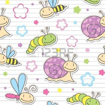 seamless pattern with cute insects and snails photo