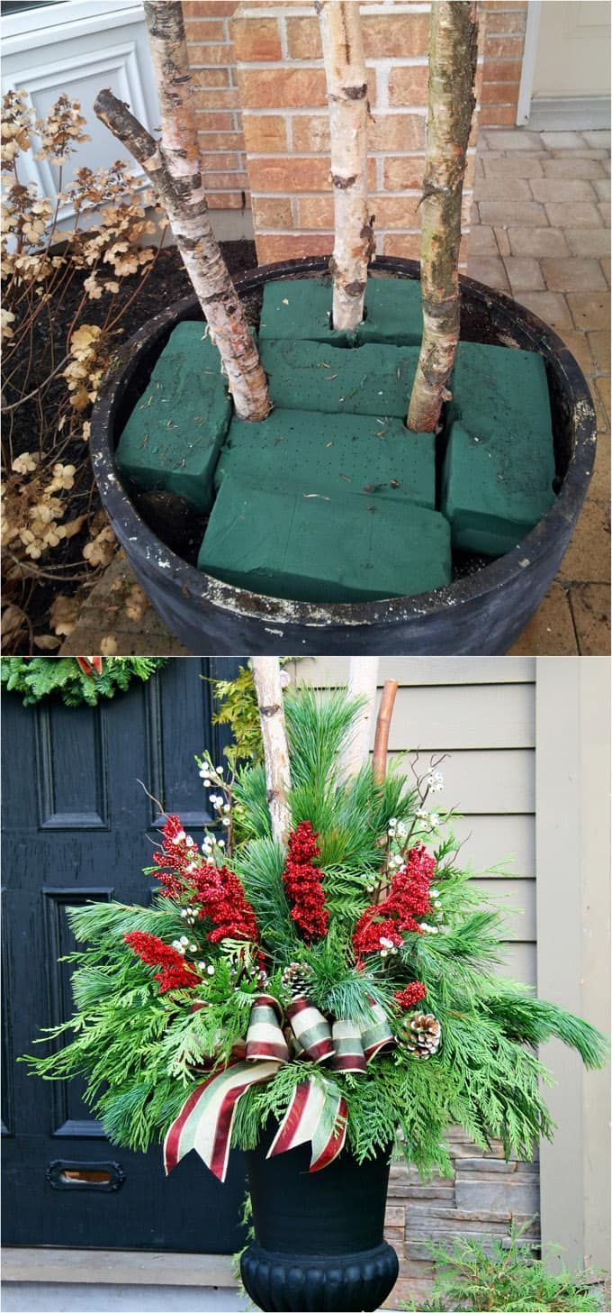 How to create colorful winter outdoor planters and beautiful Christmas planters with plant cuttings and decorative elements that last for a long time! - A Piece of Rainbow #homedecor #homedecorideas #christmas #christmasdecor #christmasideas #thanksgiving #gardens #patio #patiodesign #holiday #backyard #curbappeal #diy #gardening #gardeningtips #urbangardening #winter #gardenideas #containergardening #plants