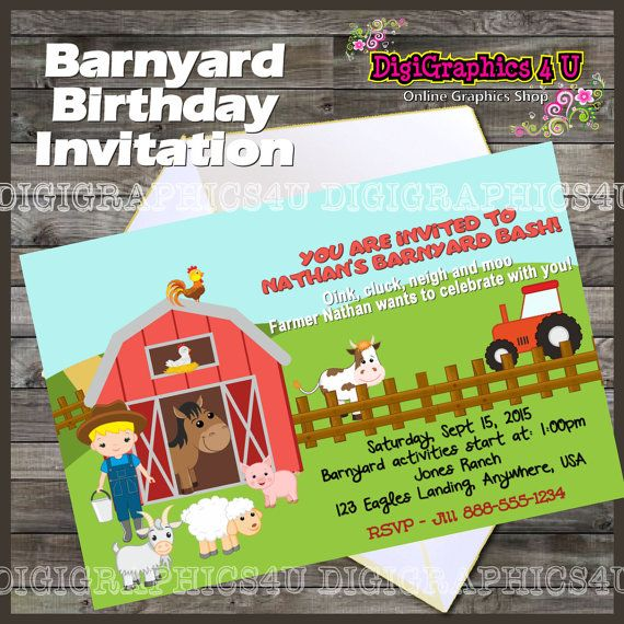 Personalized Barnyard Farm Inspired Boy #Birthday #Party Printable Digital File. This is a 4 x 6 300dpi digital file that you will be able to print yourself or have printed p... #printables #invitations #birthday #babyshower #anniversary #invitation #invite #party