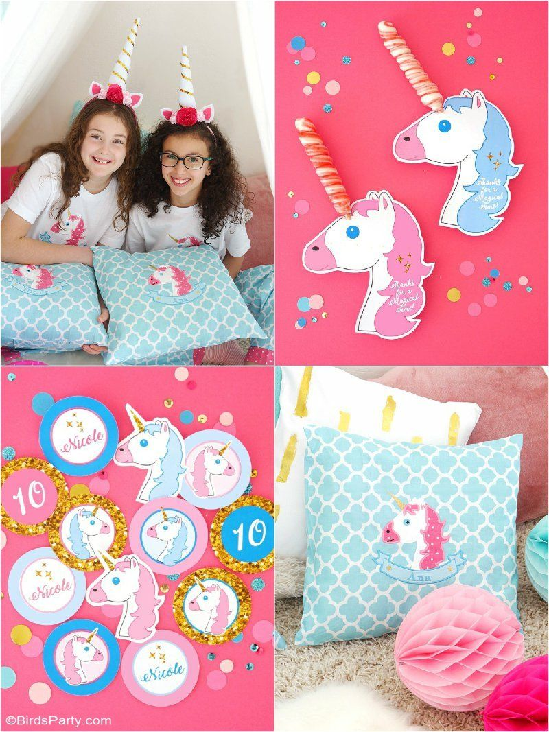 My Daughter's Unicorn Birthday Slumber Party - Unicorn birthday parties, Slumber parties, Unicorn themed birthday, Birthday party printables, Unicorn themed birthday party, Unicorn birthday - A Unicorn Birthday Slumber Party  with DIY decorations ideas, party printables, food, easy party favors and fun for a girl party or celebration!