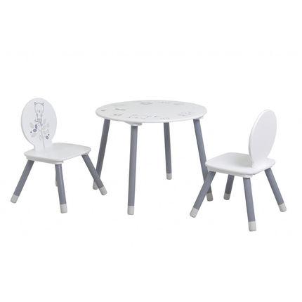 Set Table 2 Chaises Motif Ours Blanc Gris Additional Table Et Chaises Ensemble Table Et Chaise Table Et Chaise Enfant