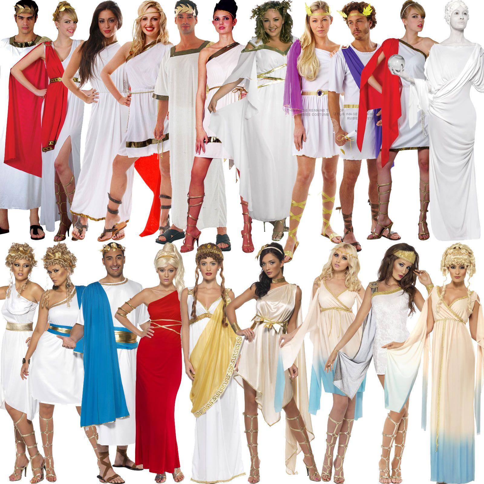 ladies grecian roman toga greek goddess fancy dress costume