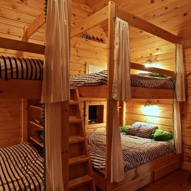 Rustic bunk house design ideas pictures remodel and - Queen bed ideas for small room ...