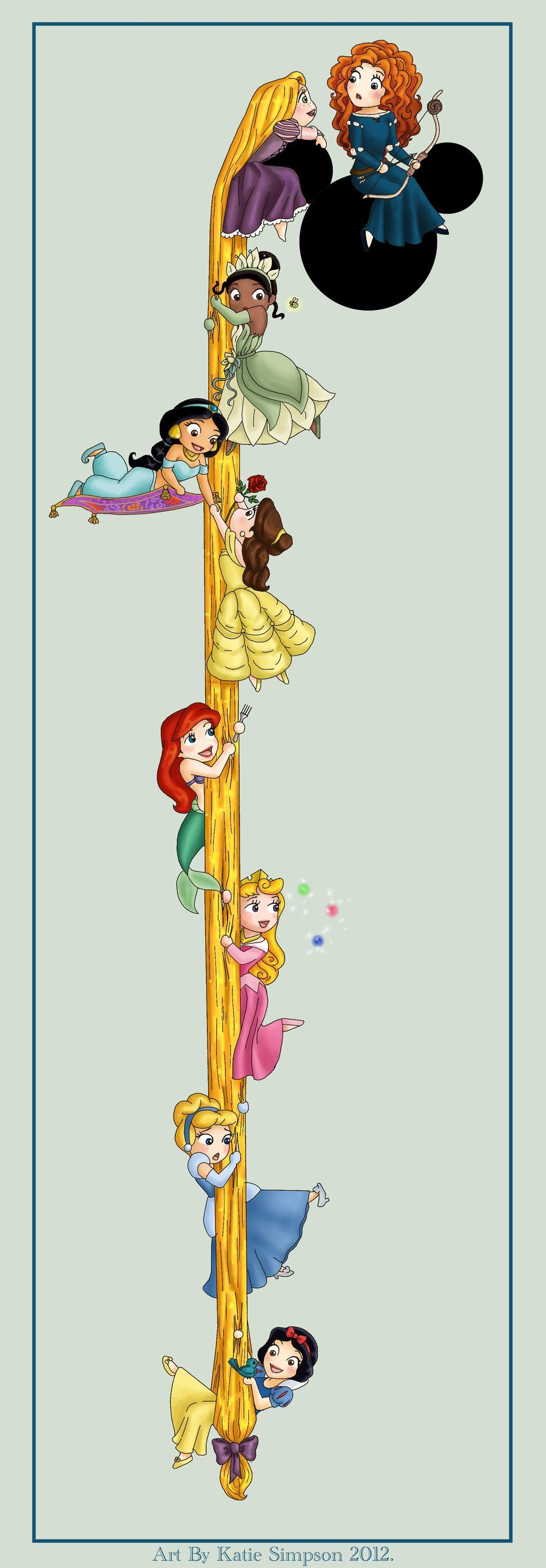Disney Princesses, chronologically. I know a few girls that would get something like this in an instant.