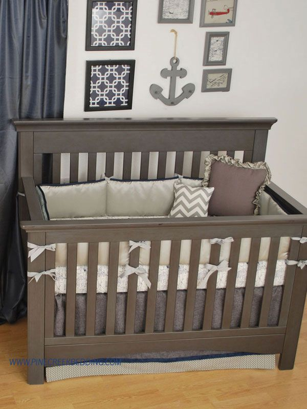 Grey And Navy Houndstooth Plaid Crib Bedding In A Nautical Nursery |  Nautical Theme Nursery | Pinterest | Nautical Nursery, Nautical Theme  Nursery And ...