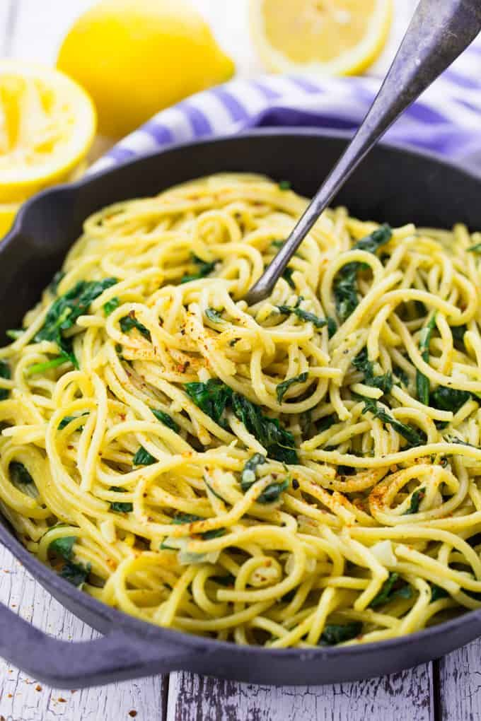 Zitronenspaghetti mit Spinat #easyonepotmeals
