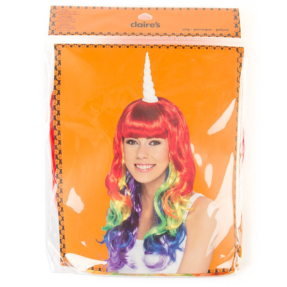 halloween rainbow unicorn wig | claire's | let's play dress up in