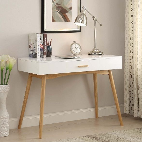 Modern Mid Century Style Writing Desk Console Table Drawer Wood Sleek White Convenienceconcepts