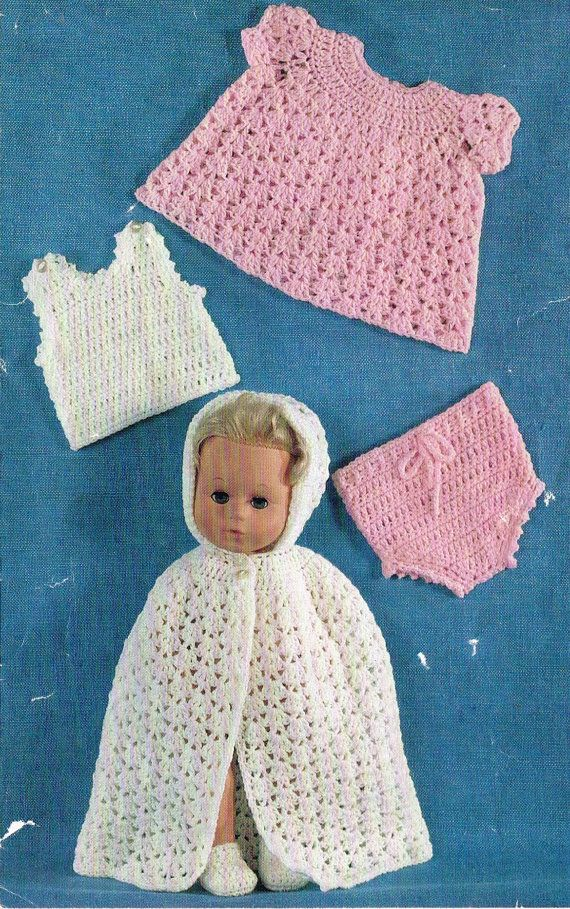 11 Quot 14 Quot Baby Dolls Clothes Crochet Pattern Vintage Copy Pdf Instant Download Vintage Crochet Patterns Crochet Patterns Baby Doll Clothes