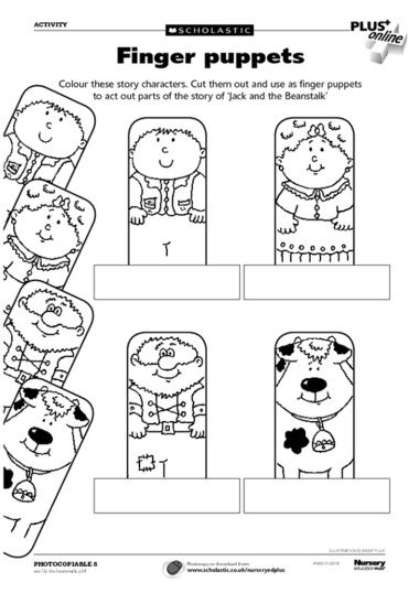paper finger puppets templates - finger puppets to act out the traditional story of jack