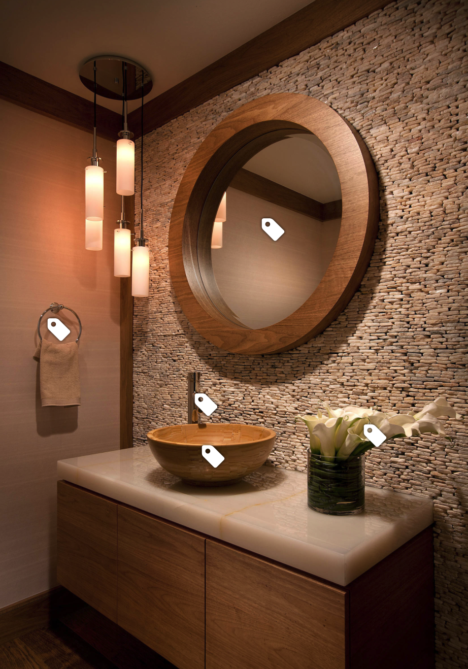 Like The Lights On The Side As An Idea For Powder Room Washbasin Design Round Mirror Bathroom Kitchen Design Color