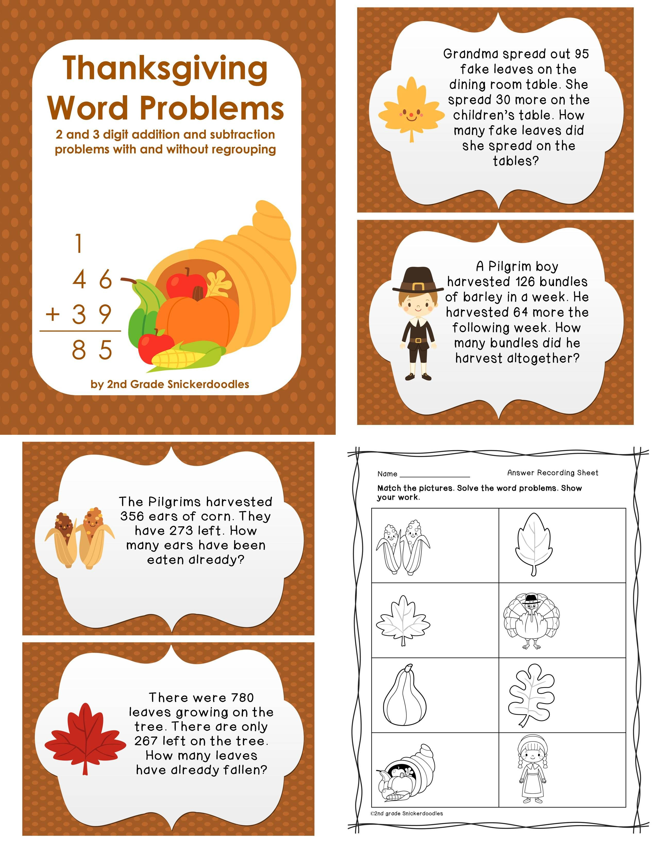 worksheet Double Digit Addition And Subtraction Word Problems thanksgiving word problems 2 and 3 digit additionsubtraction with without regrouping by