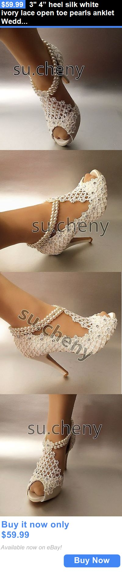 """Wedding Shoes And Bridal Shoes: 3 4"""" Heel Silk White Ivory Lace Open Toe Pearls Anklet Wedding Shoes Size 5-9.5 BUY IT NOW ONLY: $59.99"""