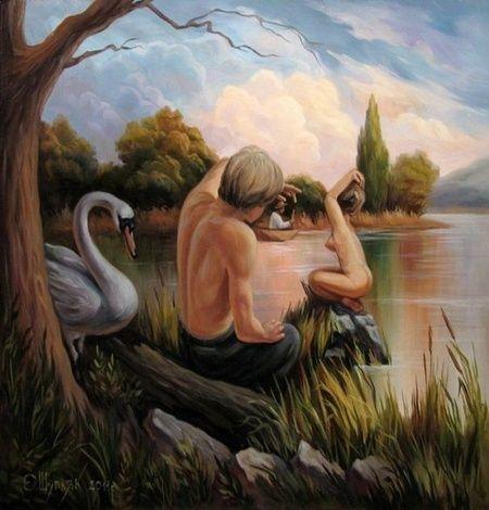 Peinture de paysage avec personnages faisant apparaître le visage de Sigmund Freud suscité par un phénomène de pareidolie.  JPEG - 85.5ko