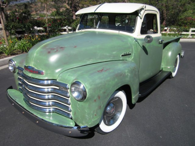 1953 Chevy 3100 Pickup Deluxe 5 Window Cab All Original Faux Patina For Sale Photos Technical Specifications Description Chevy 3100 Chevy Cool Trucks