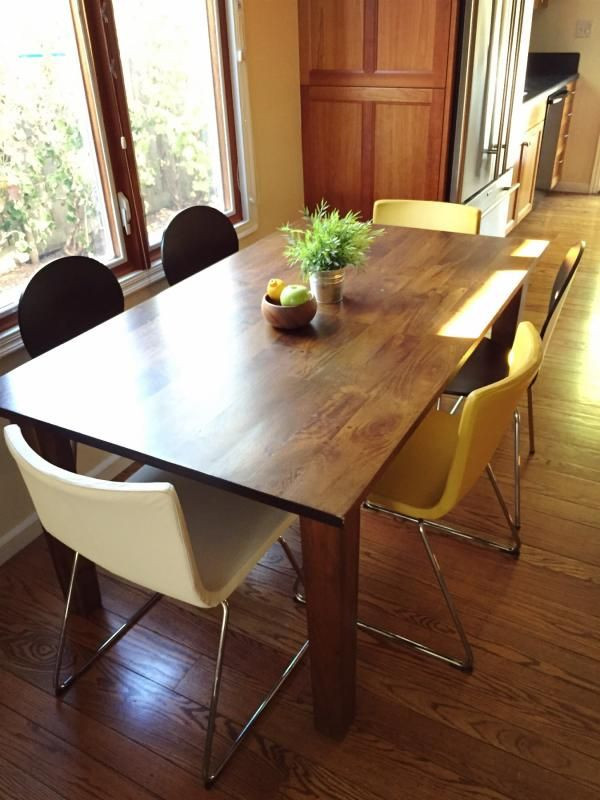 Crate And Barrel Basque Table Paired With White Chairs Ikea