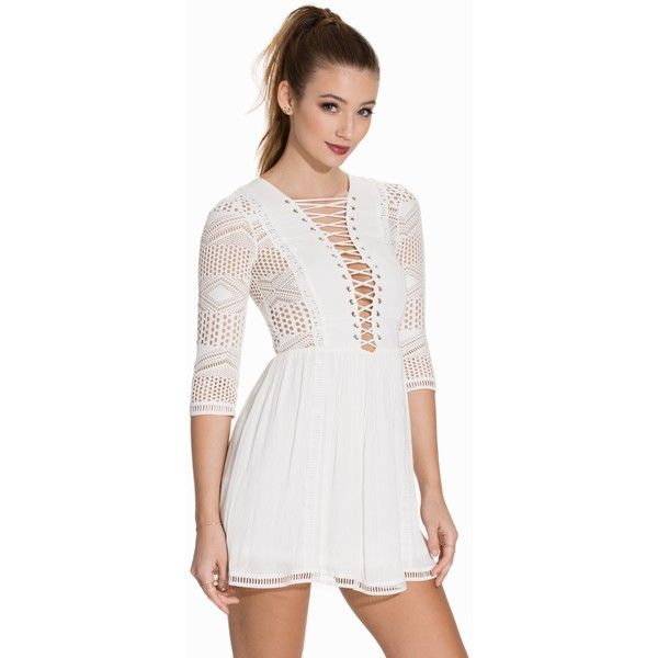 Nly Trend Crochet Tie Up Dress (£45) ❤ liked on Polyvore featuring dresses, party dresses, white, womens-fashion, white dress, white sleeve dress, white day dress, lace up dress and lace front dress