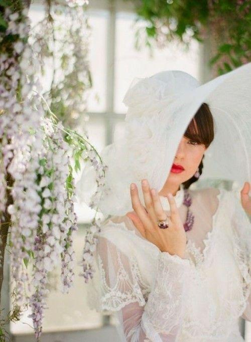 romantisch verspielt Hut Hochzeitskleid vintage retro | Hochzeit ...