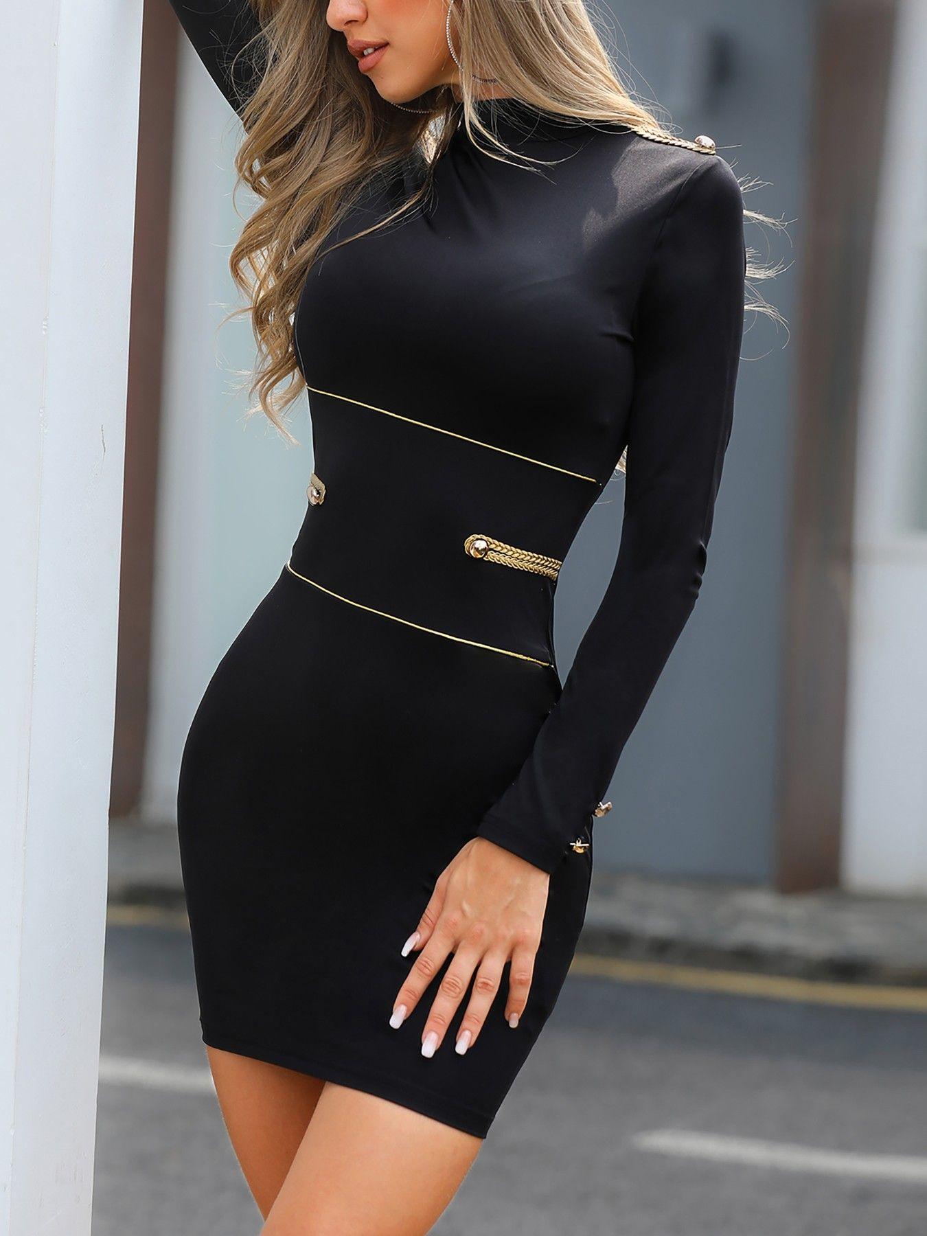 f8a4762d Button Design Long Sleeve Bodycon Dress (S/M/L/XL) $31.99 | Hair in ...