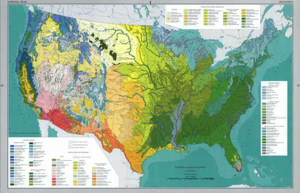 Vegetation map in The National Atlas of the United States of ...