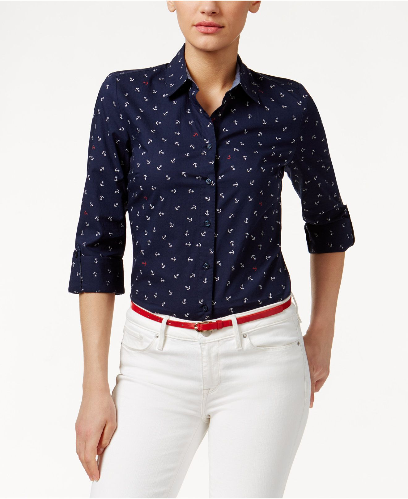 849a68406e3 Tommy Hilfiger Anchor-Print Shirt - Tops - Women - Macy s