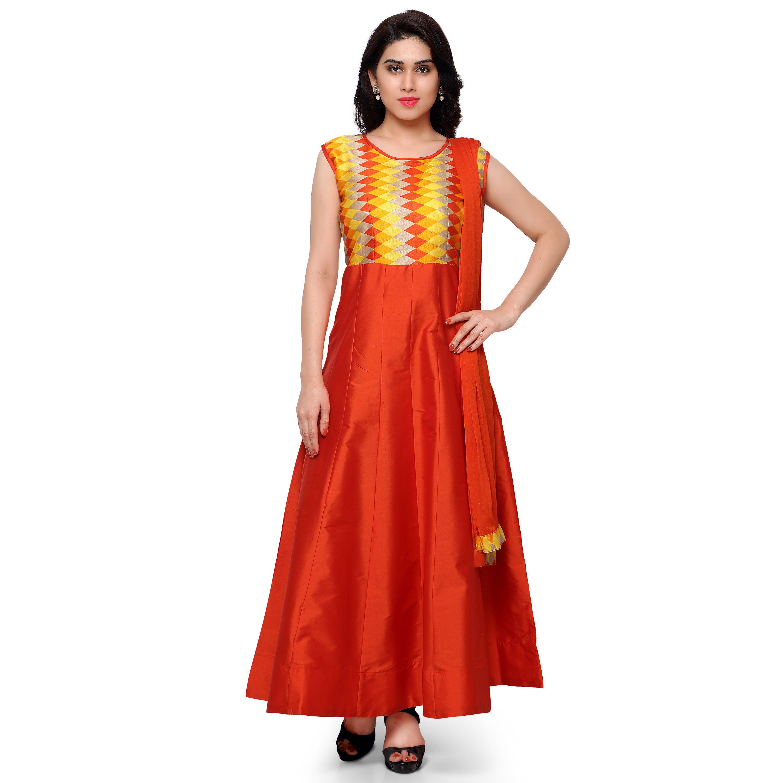 Kapadewala Latest Orange Banglori Silk Semi stitched Embellished Free Size  XXL Salwar Suit for Women d90e061c6