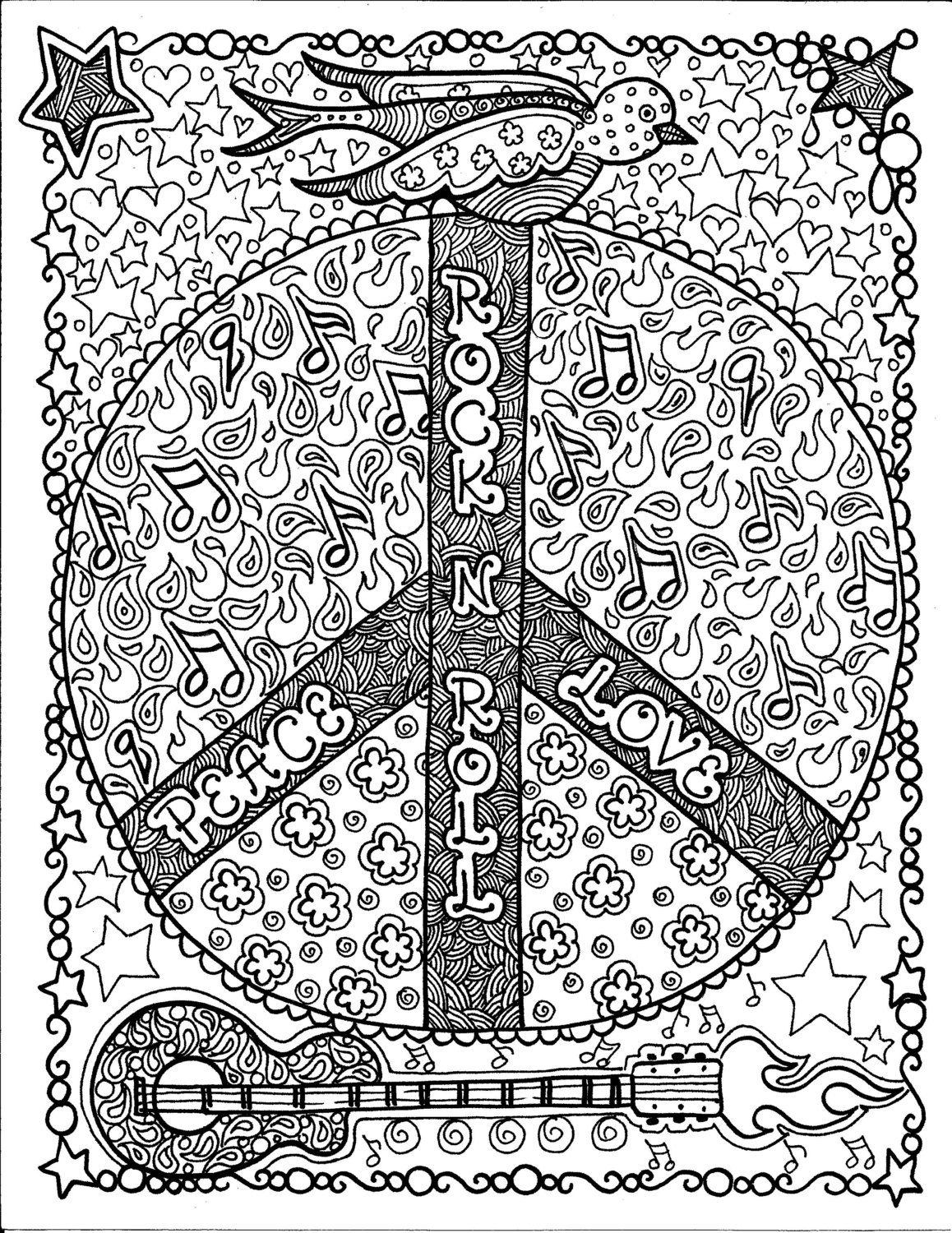 Instant Download Rock and Roll Peace Coloring Page Art Fantasy ...