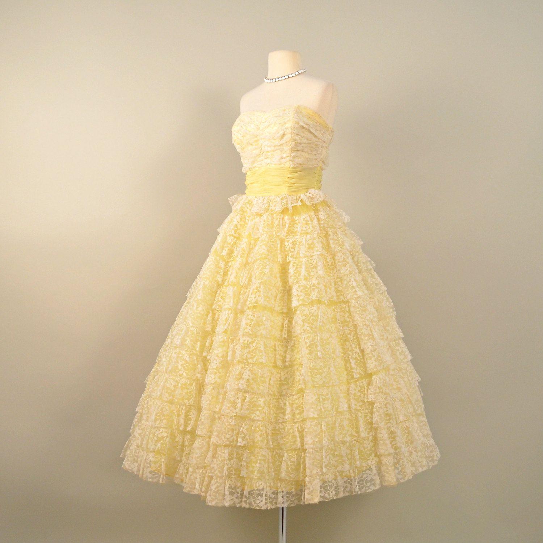 Vintage Yellow Tea Length Dresses