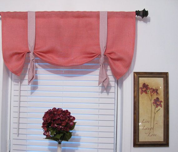 Valance W Burlap Ties And: Easy DIY Idea For Valances. Make Them Lime Green With Black Ties. How Cute Would That Be