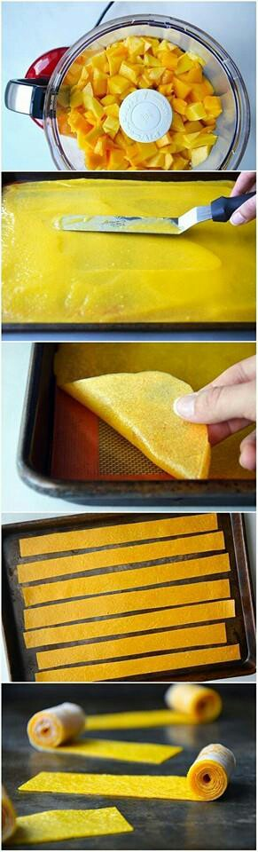 4 cups diced ripe mango. Preheat oven to 175ºF, line pans with parchment paper.  Puree the mango til smooth.  Using a spatula, spread the purée as flat and even.  Bake for 3 to 4 hours.  Roll-ups are done when the purée is dry to the touch and pliable. Place a piece of wax paper on top of the roll-ups and then peel off the wax paper and the roll-ups together. Cut the sheet into long strips and then roll up the strips.