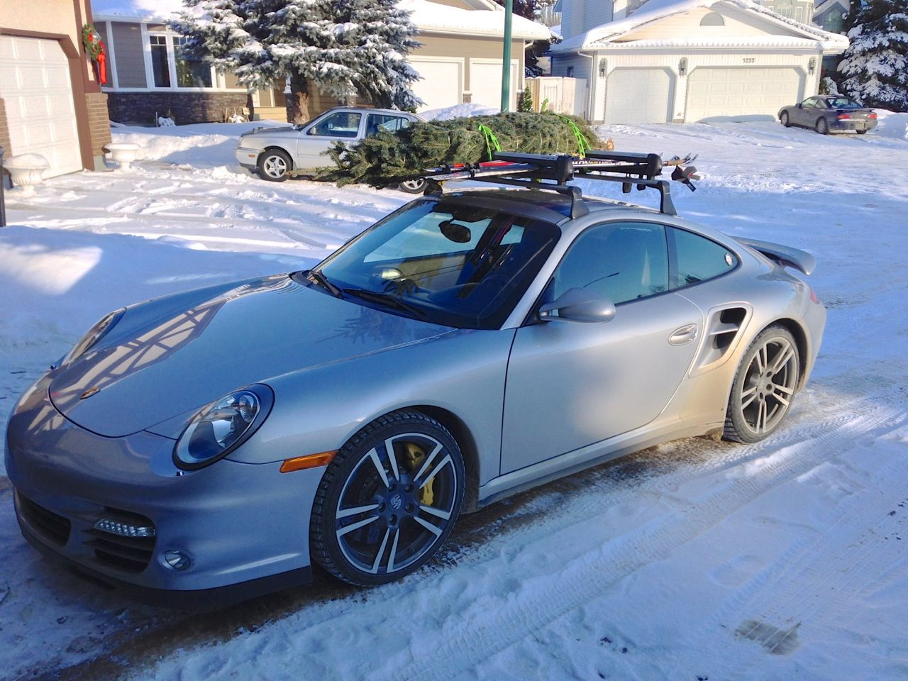 Roof Rack Carrying Cross Country Skis And Christmas Tree Weihnachten