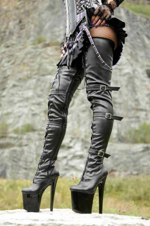 Black Leaather Women Motorcycle Thigh High Boots Heels Platform ...