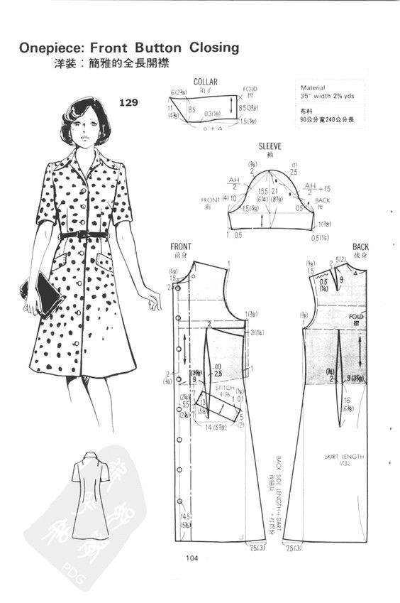 Vestido camisero: | patrón vestidos | Pinterest