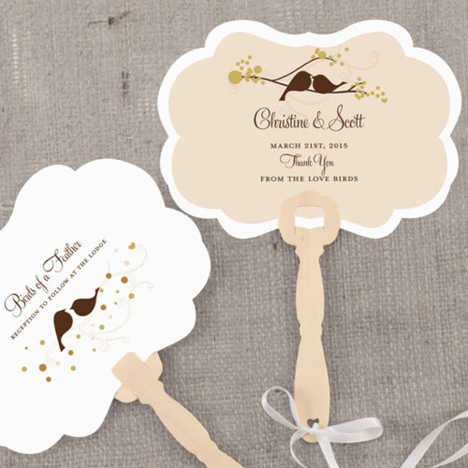 Personalized Wedding Fans - Love Bird Hand Fan with Decorative Shape ...