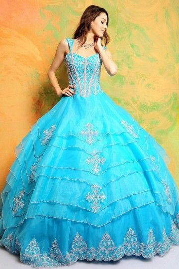 Blue Ball Gown Lace-up Natural Sleeveless Quinceanera Dresses With Tiered QDC54